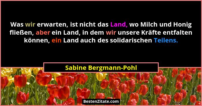 Was wir erwarten, ist nicht das Land, wo Milch und Honig fließen, aber ein Land, in dem wir unsere Kräfte entfalten können, ein... - Sabine Bergmann-Pohl
